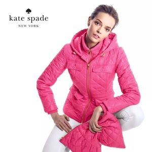 NWT Kate Spade pink quilted bow jacket small